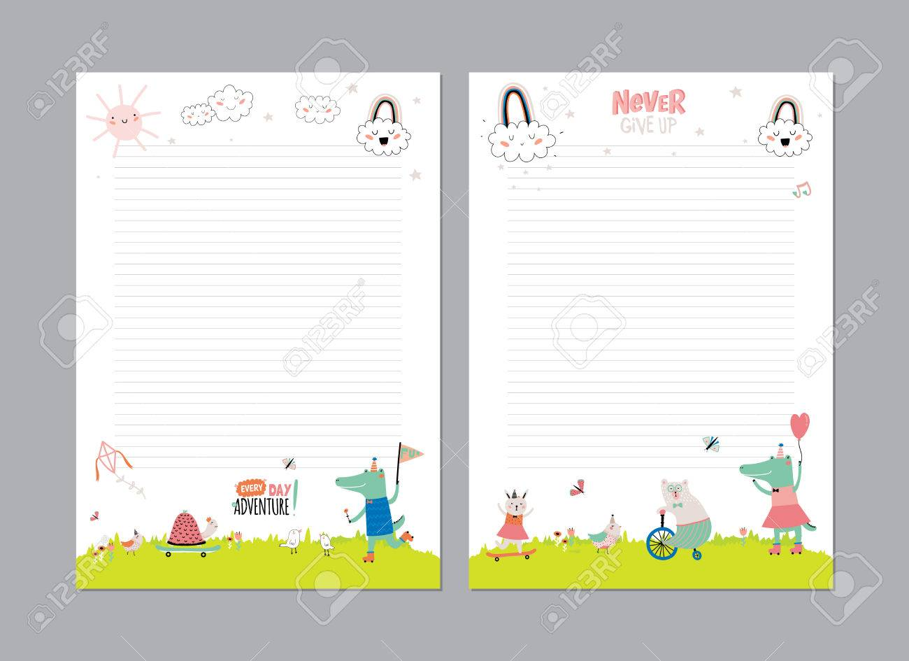 Cute Calendar Daily Planner Template For 2016. Beautiful Diary With Vector  Funny Animals Illustrations.  Daily Diary Template