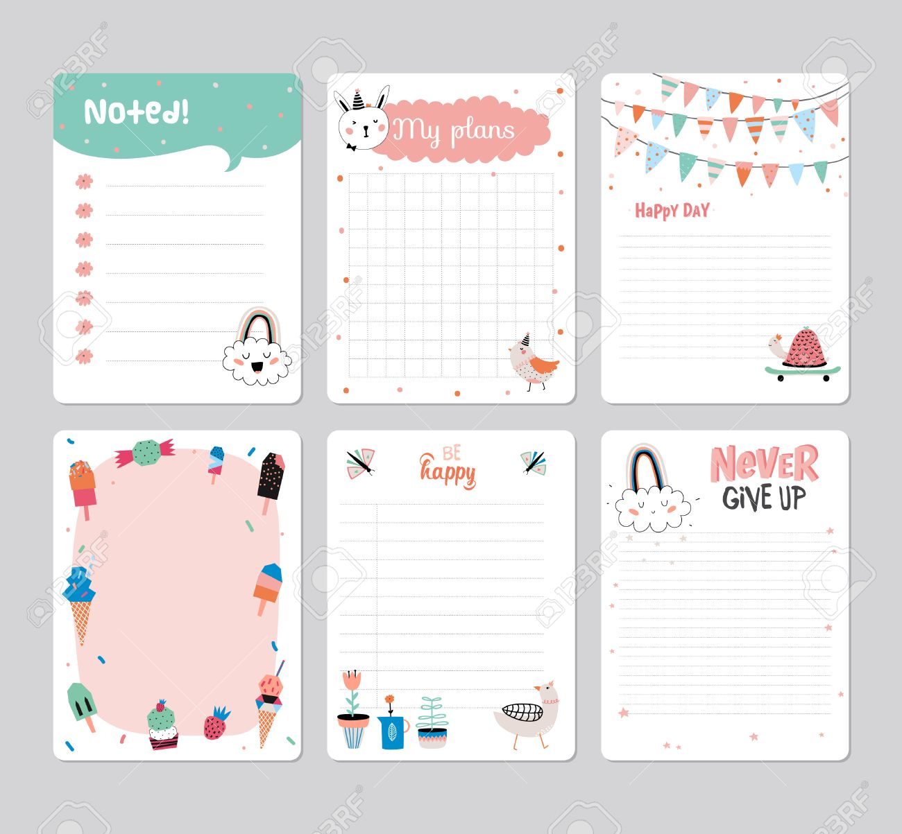 cute calendar daily planner template for 2016 note paper set