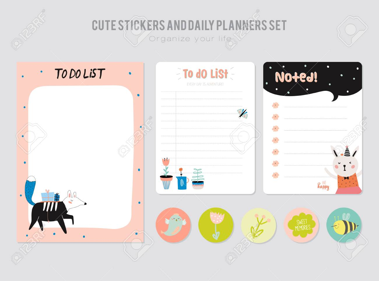 Cute Daily Calendar Template Note Paper And Stickers Set With