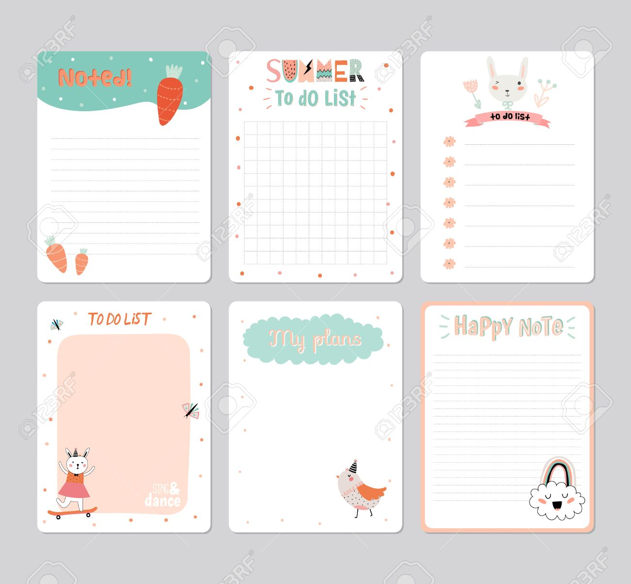 Cute Calendar Daily Planner Template For 2016 Note Paper Set With Vector Funny Animals Illustrations