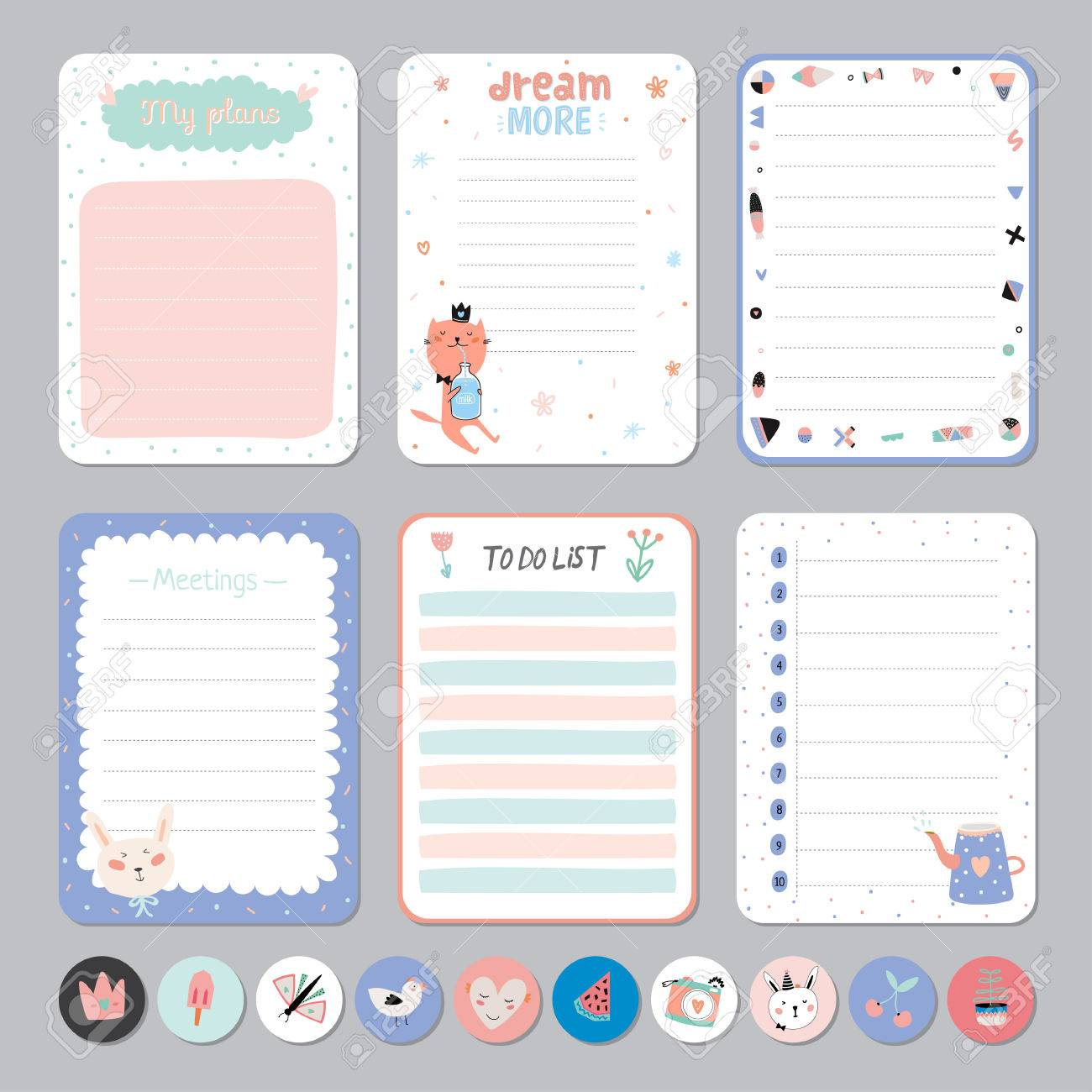 cute calendar daily and weekly planner template. note paper and
