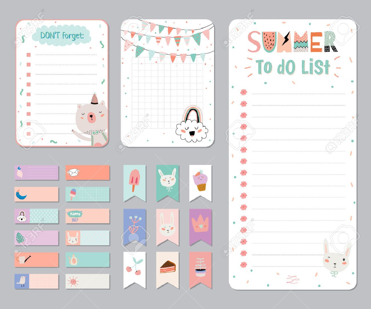 Cute Calendar Daily And Weekly Planner Template Note Paper Stickers Set With Vector Funny