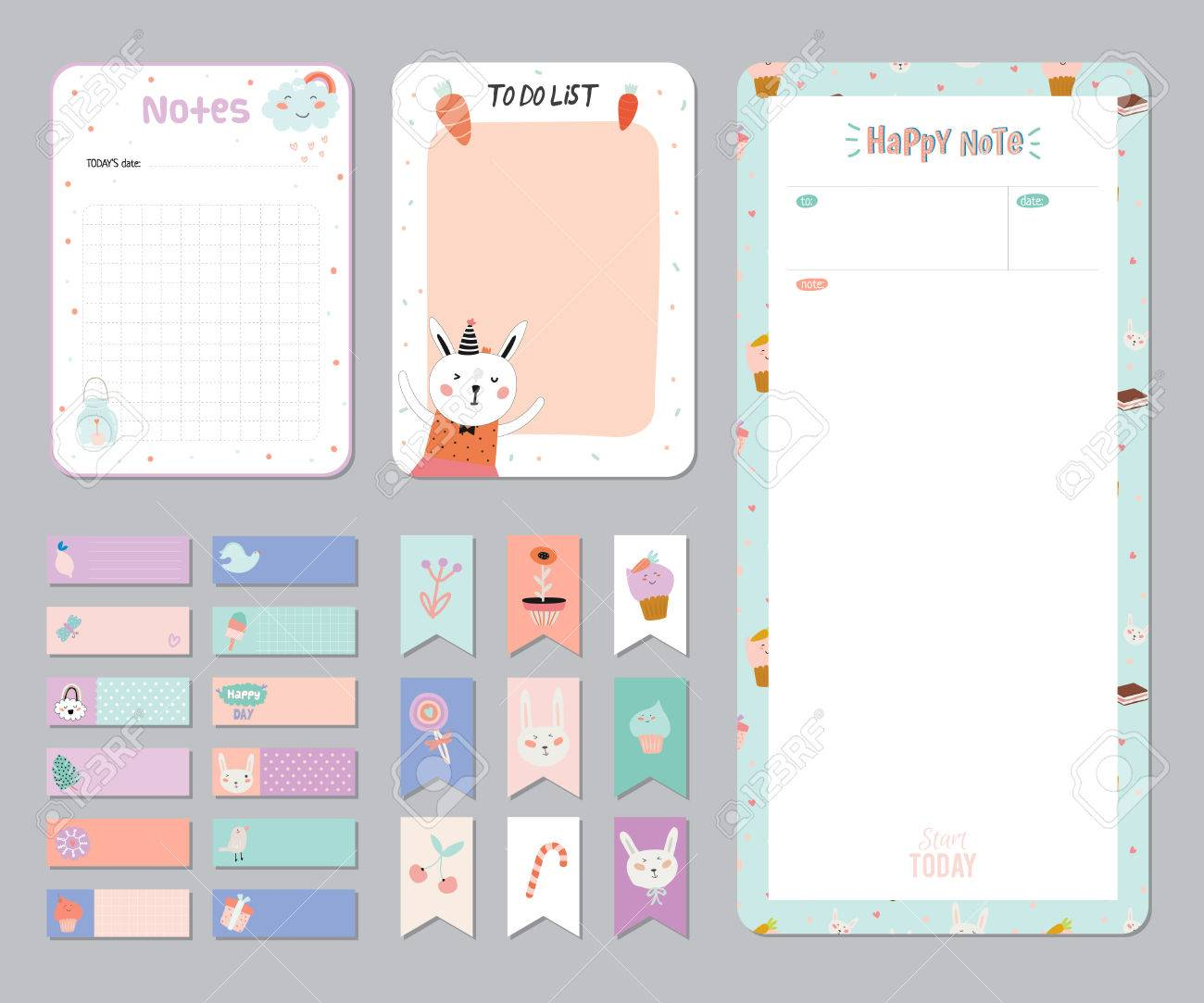 Cute Calendar Daily And Weekly Planner Template. Note Paper And ... for Planner Stickers Template  76uhy