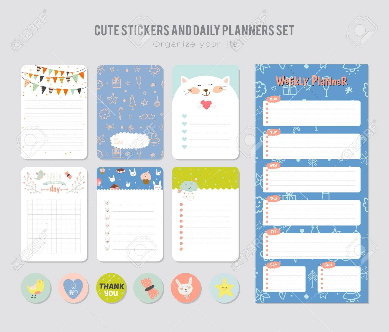 Daily Calendar Template | Cute Daily Calendar Template Note Paper And Stickers Set With