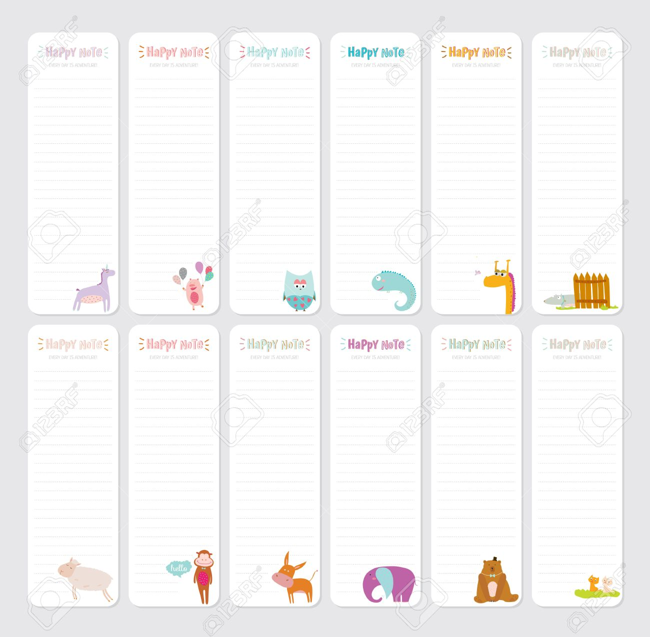 graphic about Note Paper Template referred to as Lovely Day-to-day Observe Template. Laptop Paper and Stickers Established with..