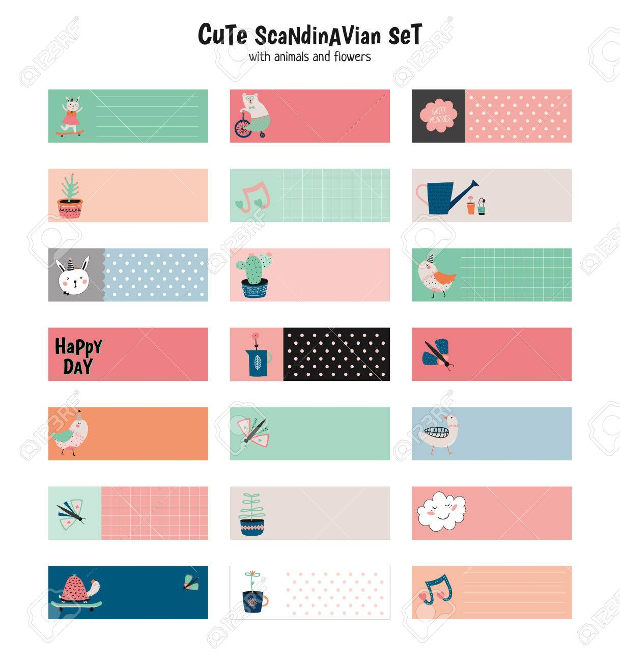 Cute scandinavian set of greeting cards, gift tags, stickers