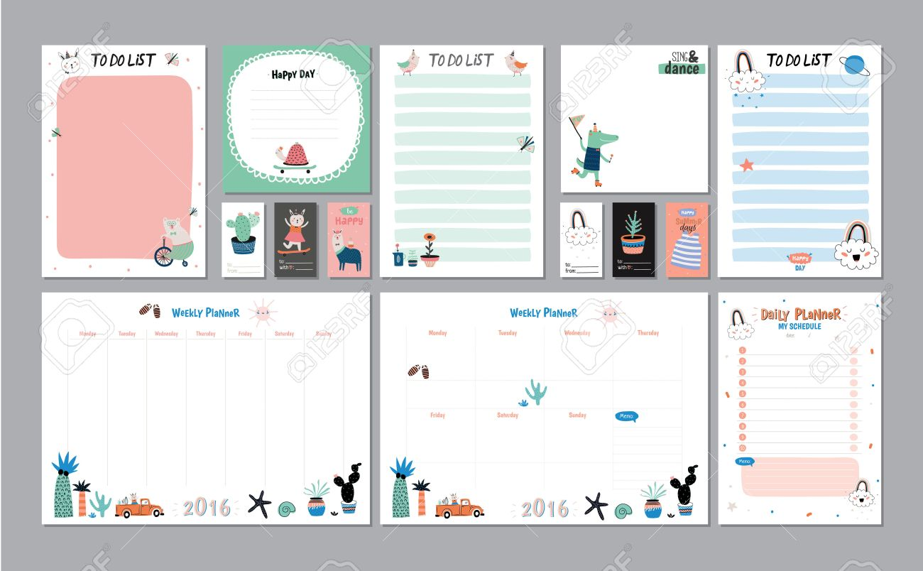 graphic about Daily Planner Template named Scandinavian Weekly and Day-to-day Planner Template. Organizer and..