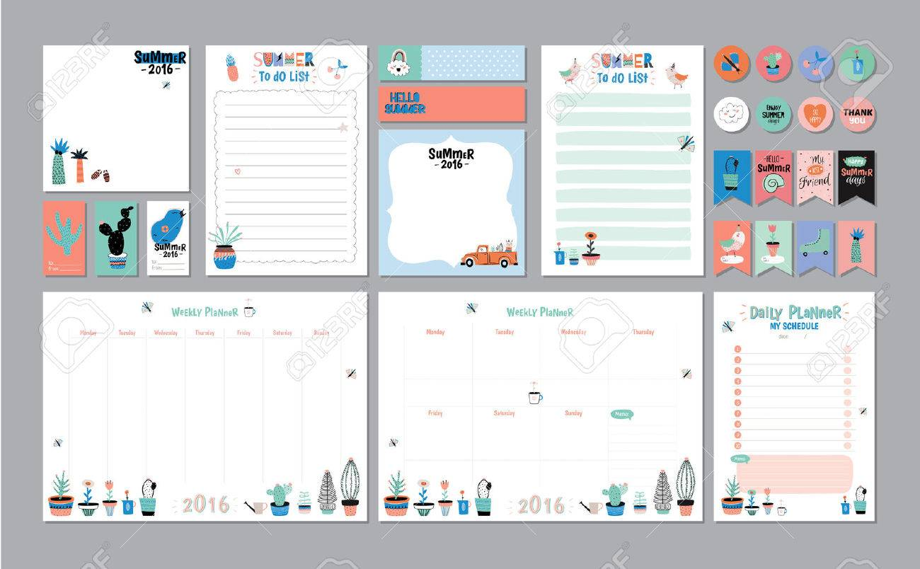 scandinavian weekly and daily planner template organizer and schedule with notes and to do list