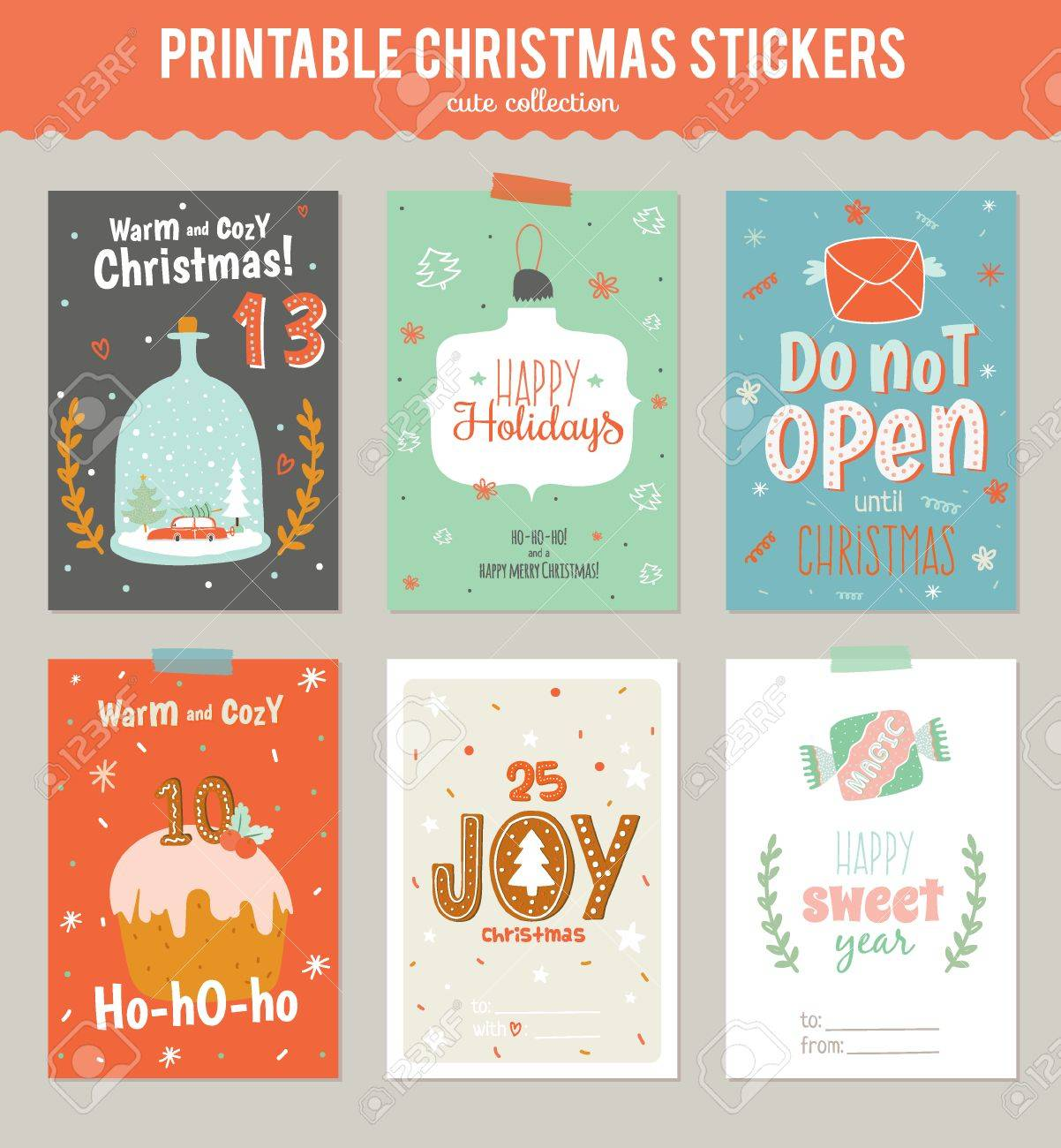 collection of 6 christmas gift tags and cards templates christmas