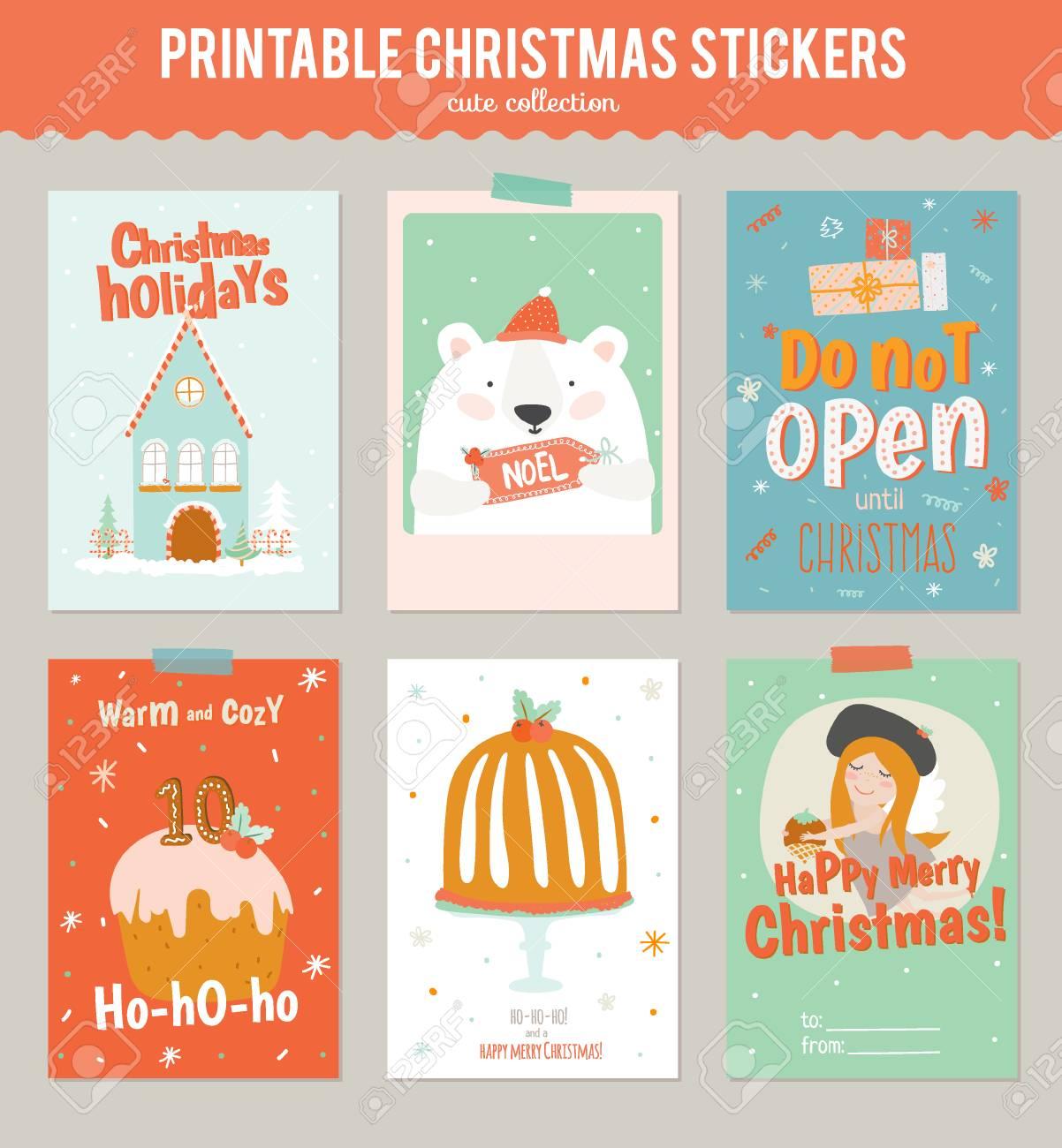 Colección De 6 De Regalo De Navidad Etiquetas Y Tarjetas Plantillas ...