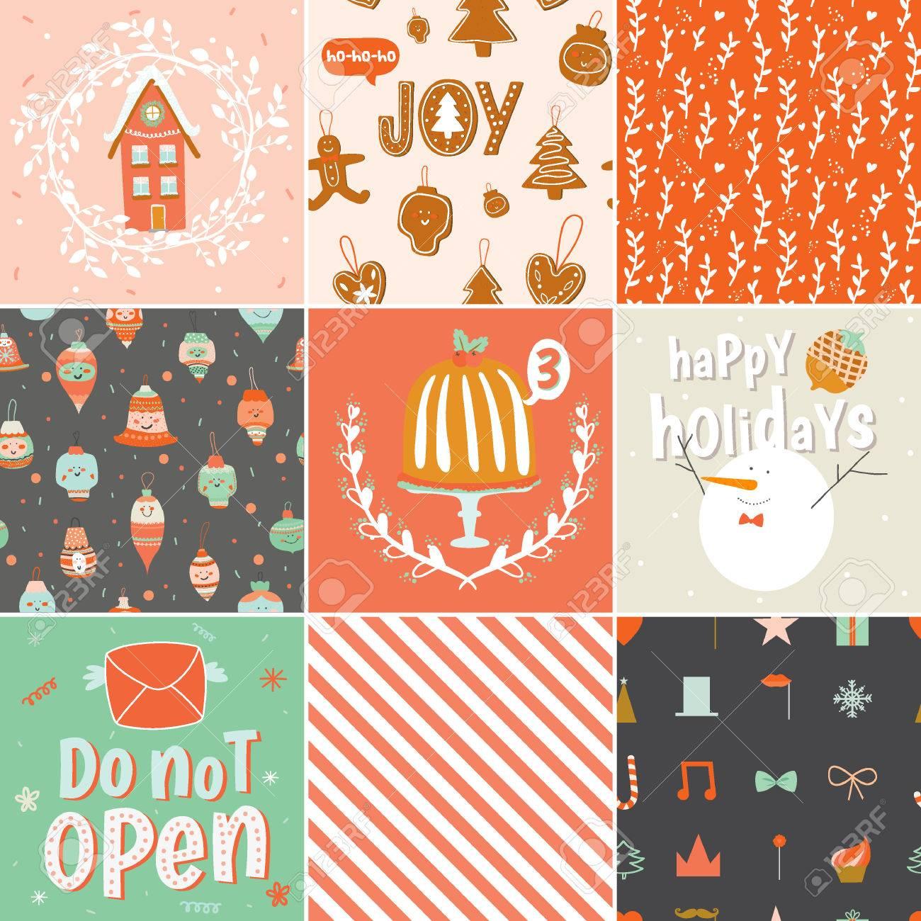 Colección De 9 De Regalo De Navidad Etiquetas Y Tarjetas Plantillas ...