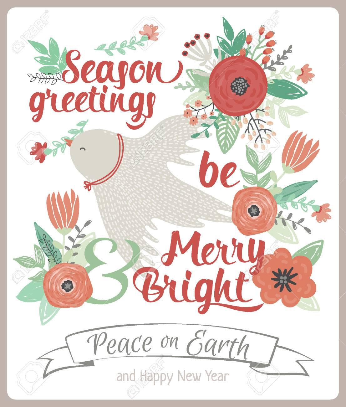 vector vintage merry christmas and happy new year card with flowers and winter dove greeting stylish illustration of winter romantic bouquet of flowers