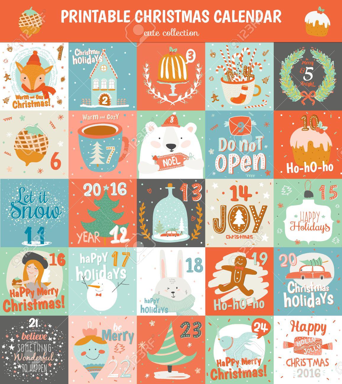 graphic regarding Free Printable Advent Calendar called Printable introduction calendar inside vector. Adorable Xmas calendar..