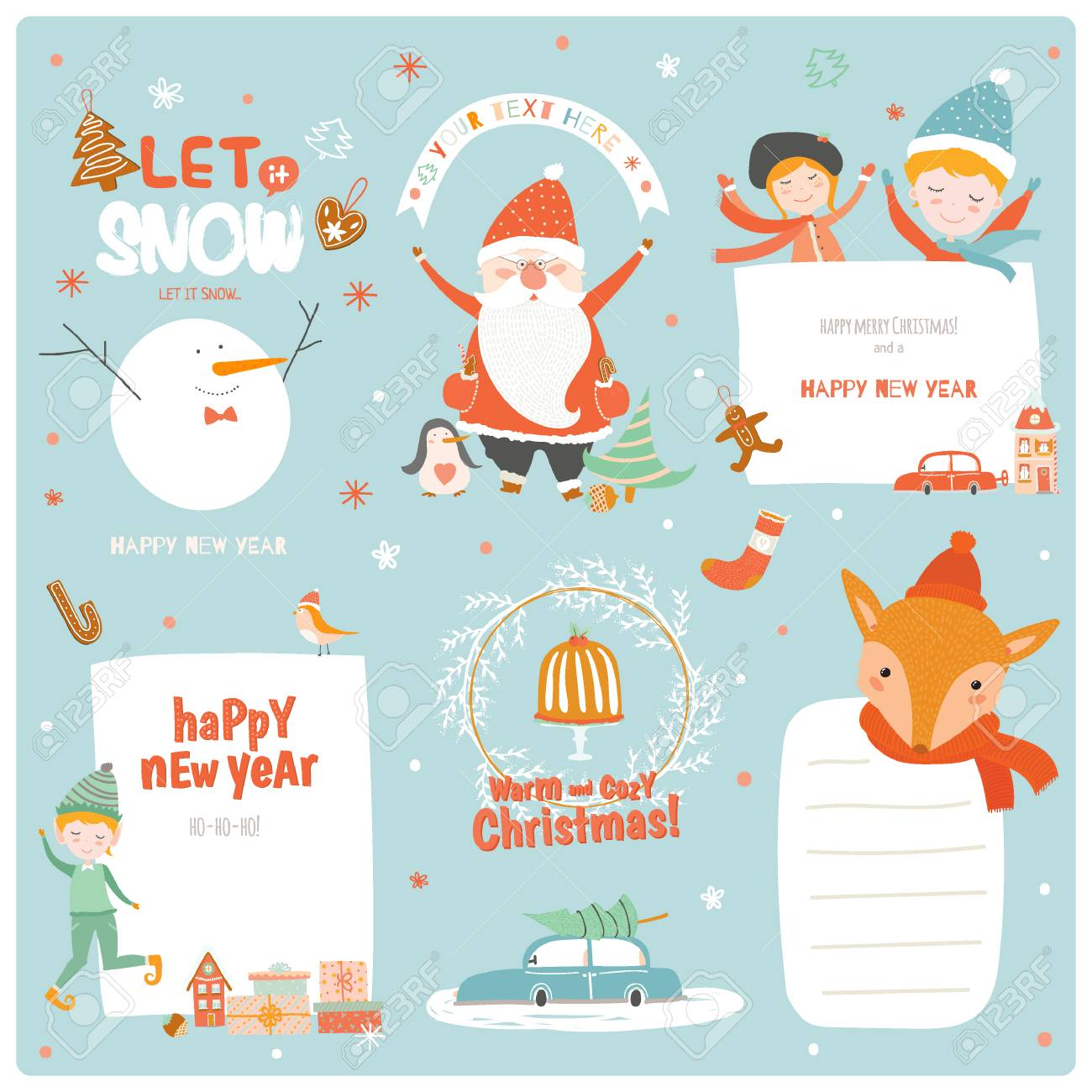 Cute Christmas Cards Labels And Stickers With Santa Claus Fox