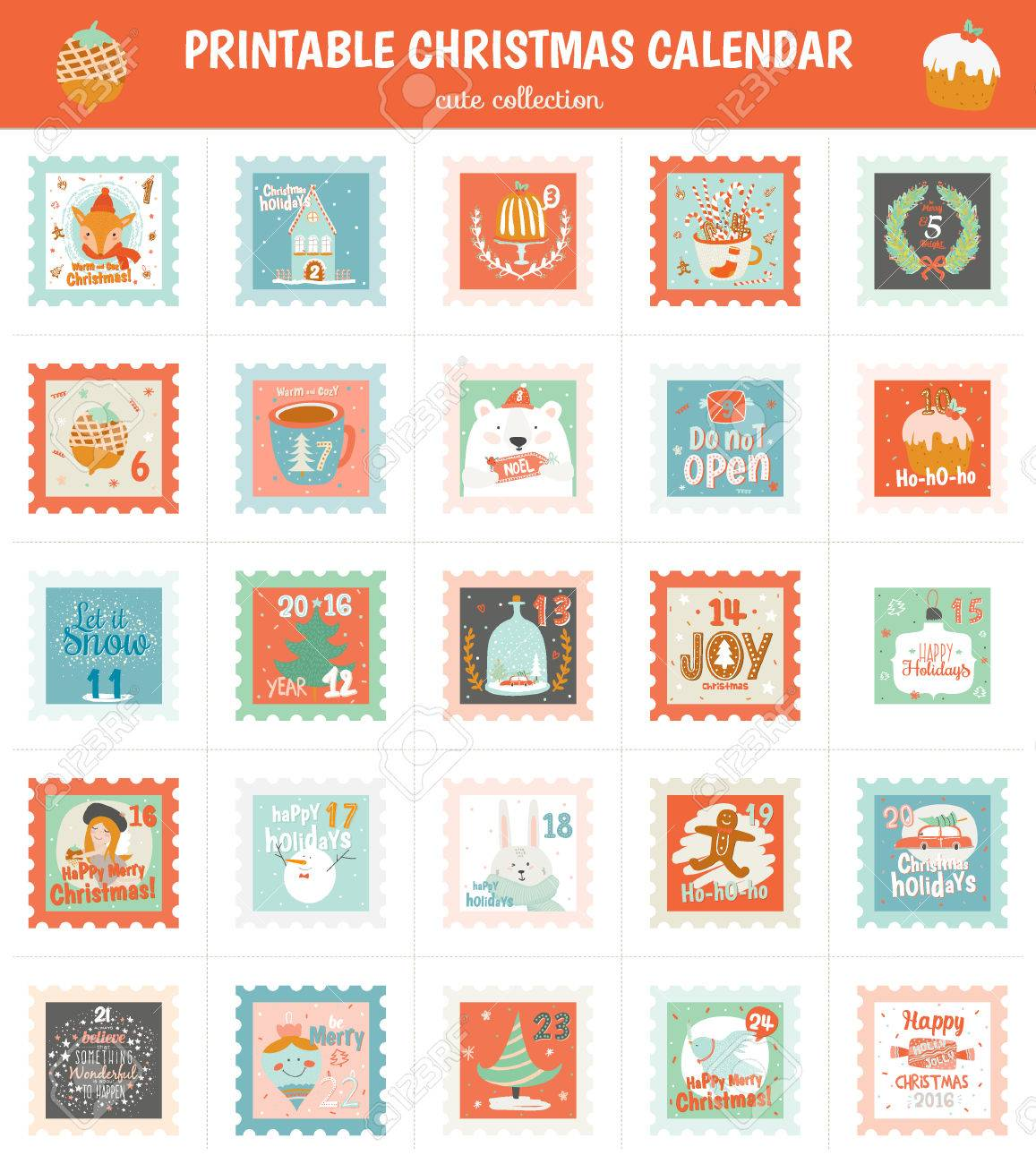 graphic about Stamp Printable called Printable arrival calendar in just vector. Xmas interesting cheerful..