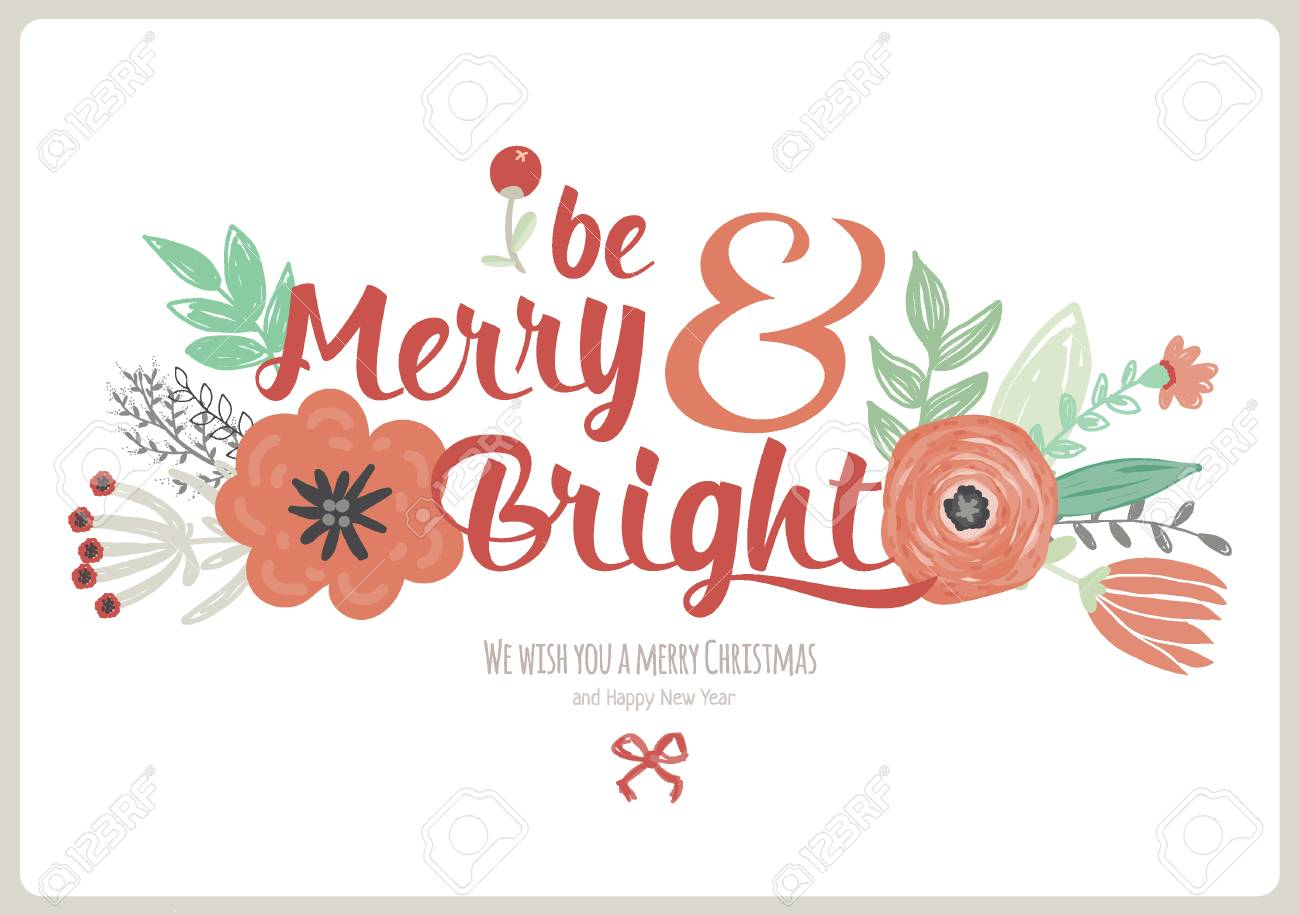 vector vintage merry christmas and happy new year card with winter fowers and holidays wish greeting stylish illustration of winter romantic wreath of