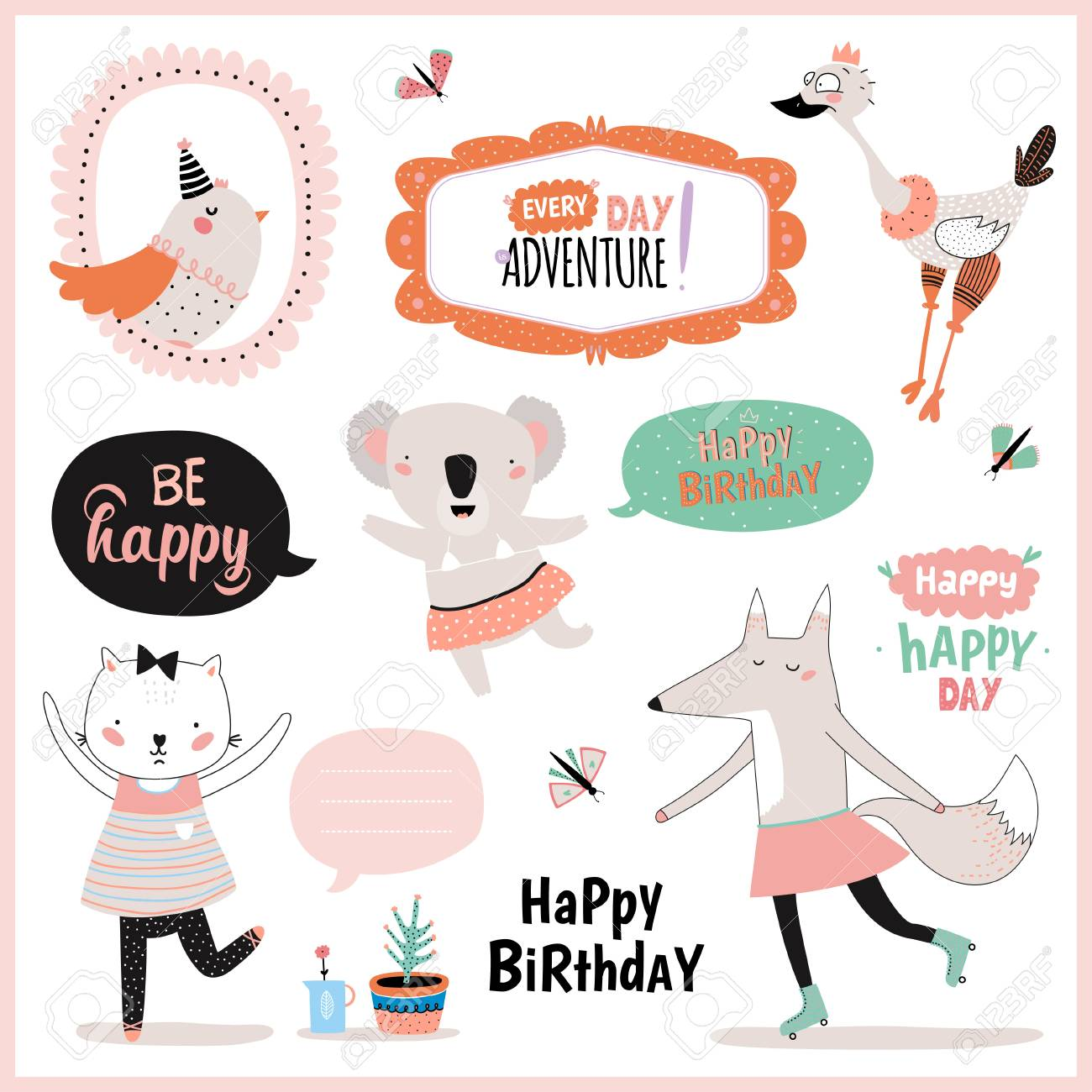 set of birthday cards gift tags label templates and stickers