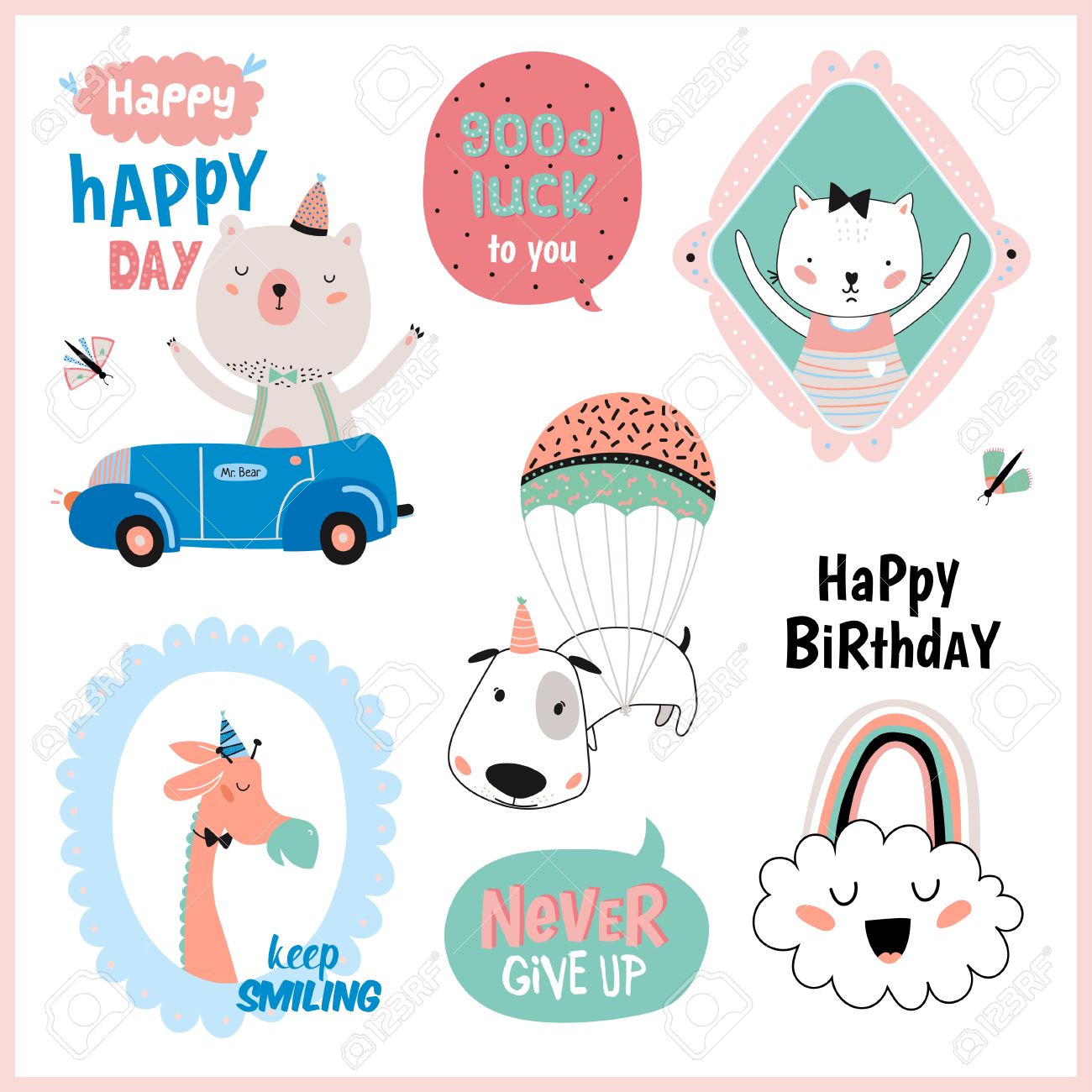 Set Of Birthday Cards Gift Tags Label Templates And Stickers With Funny Cute