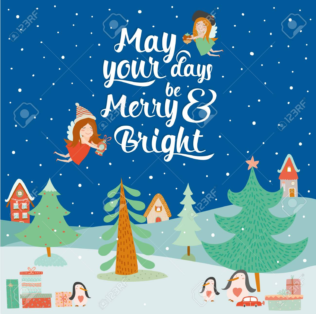 Stylish And Bright Merry Christmas And New Year Card In Vector Cute