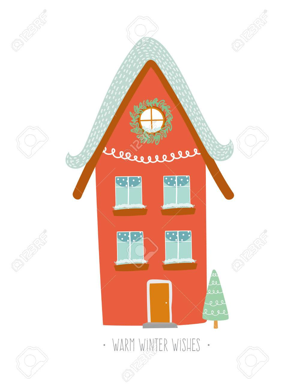 christmas card with winter character house vector holiday illustration stylish new year and christmas