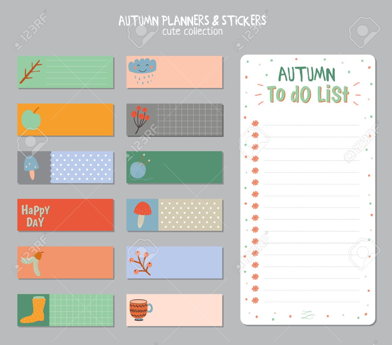 Cute daily calendar and to do list template note paper and cute daily calendar and to do list template note paper and stickers set with vector pronofoot35fo Images