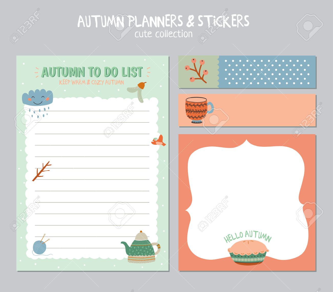 cute daily calendar and to do list template. note paper and stickers