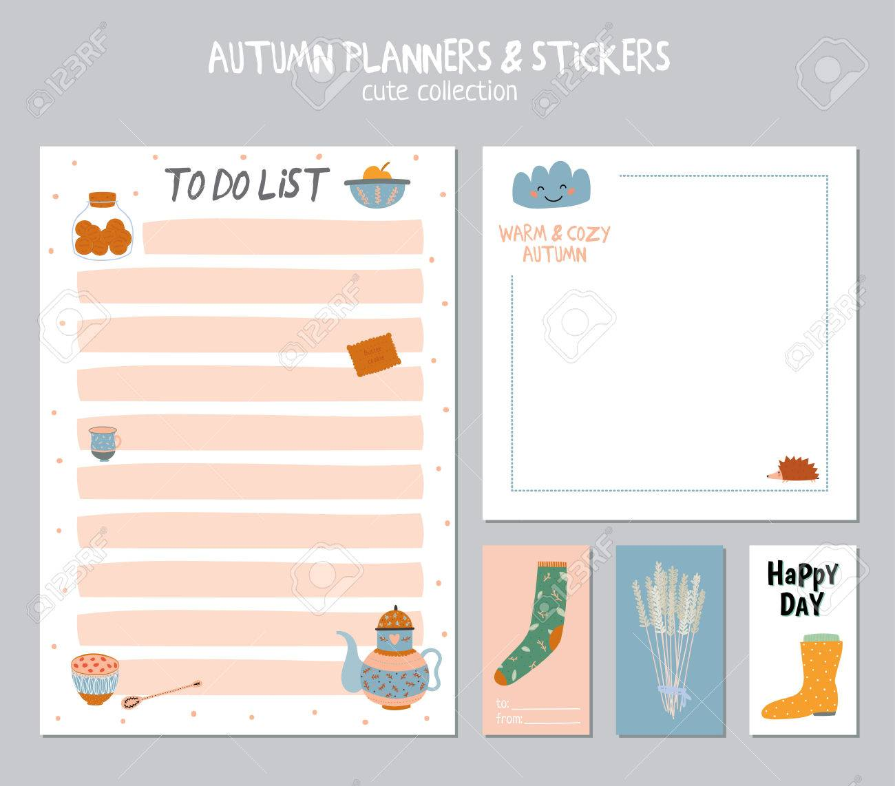 cute daily calendar and to do list template note paper and stickers