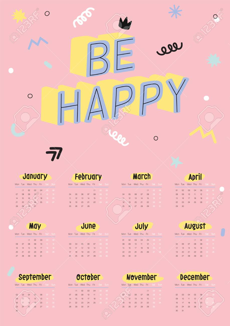 Cute 2019 Calendar Yearly Planner Calendar With All Months
