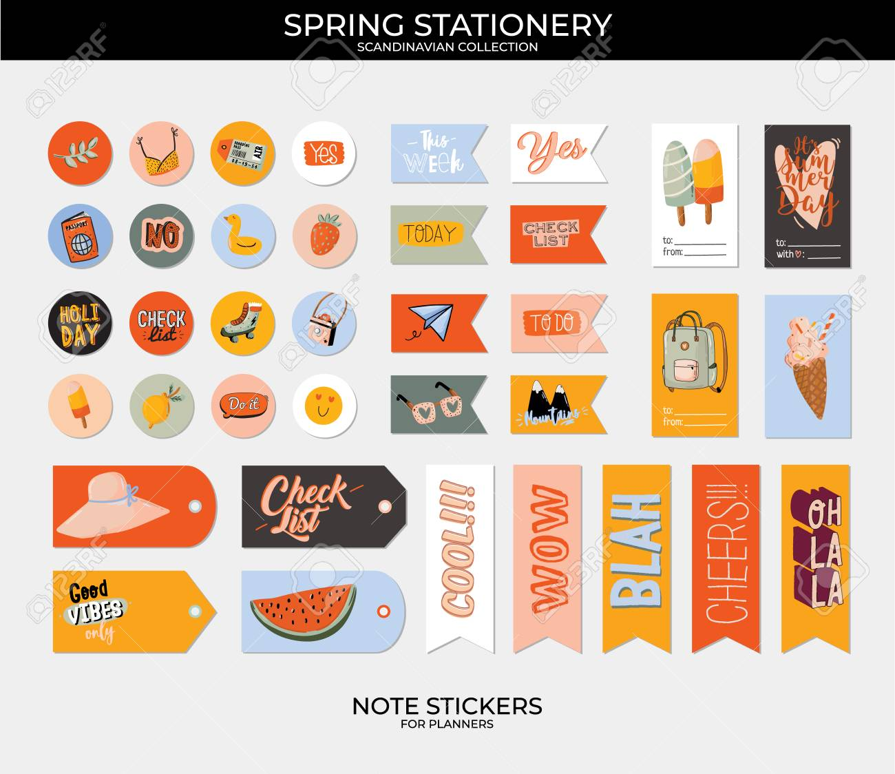 Collection of weekly and daily planners, sheet for notes and to do lists with summer illustrations and lettering. Template for agenda, planners, check lists, and other stationery. Vector - 122695692