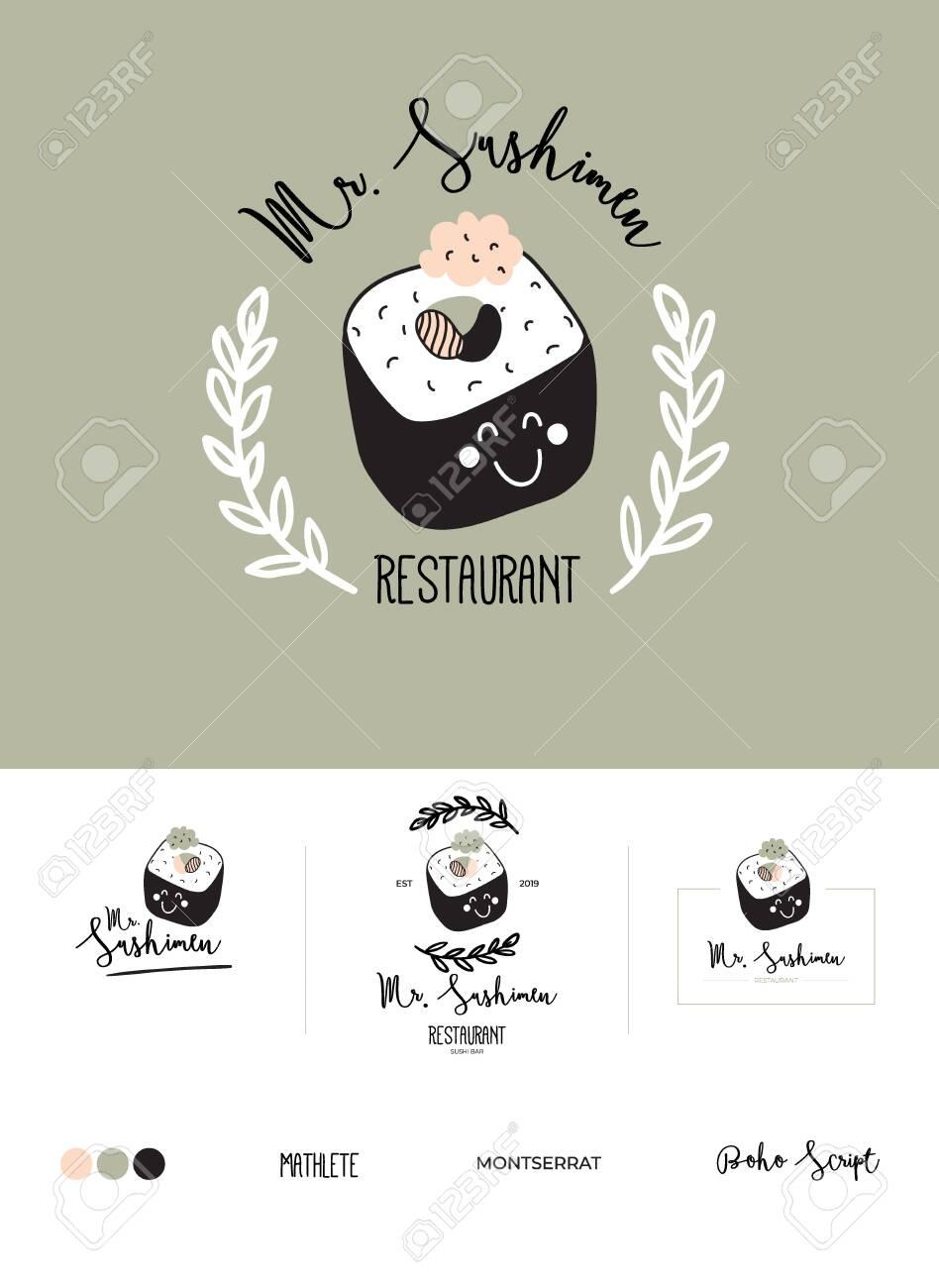 Set logotype for restaurant and cafe menu design  Vector logo