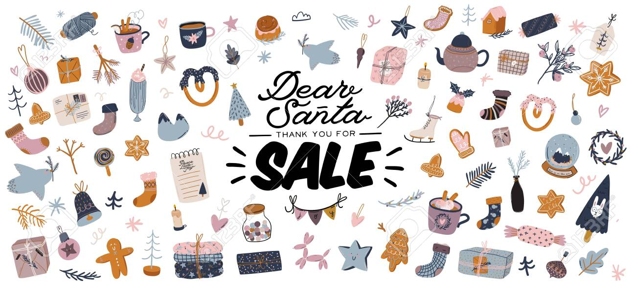 Sale print with beautiful Winter background, Christmas elements and trendy lettering. Good template for web, card, poster, sticker, banner, invitation, flyers. Vector illustration - 136163197