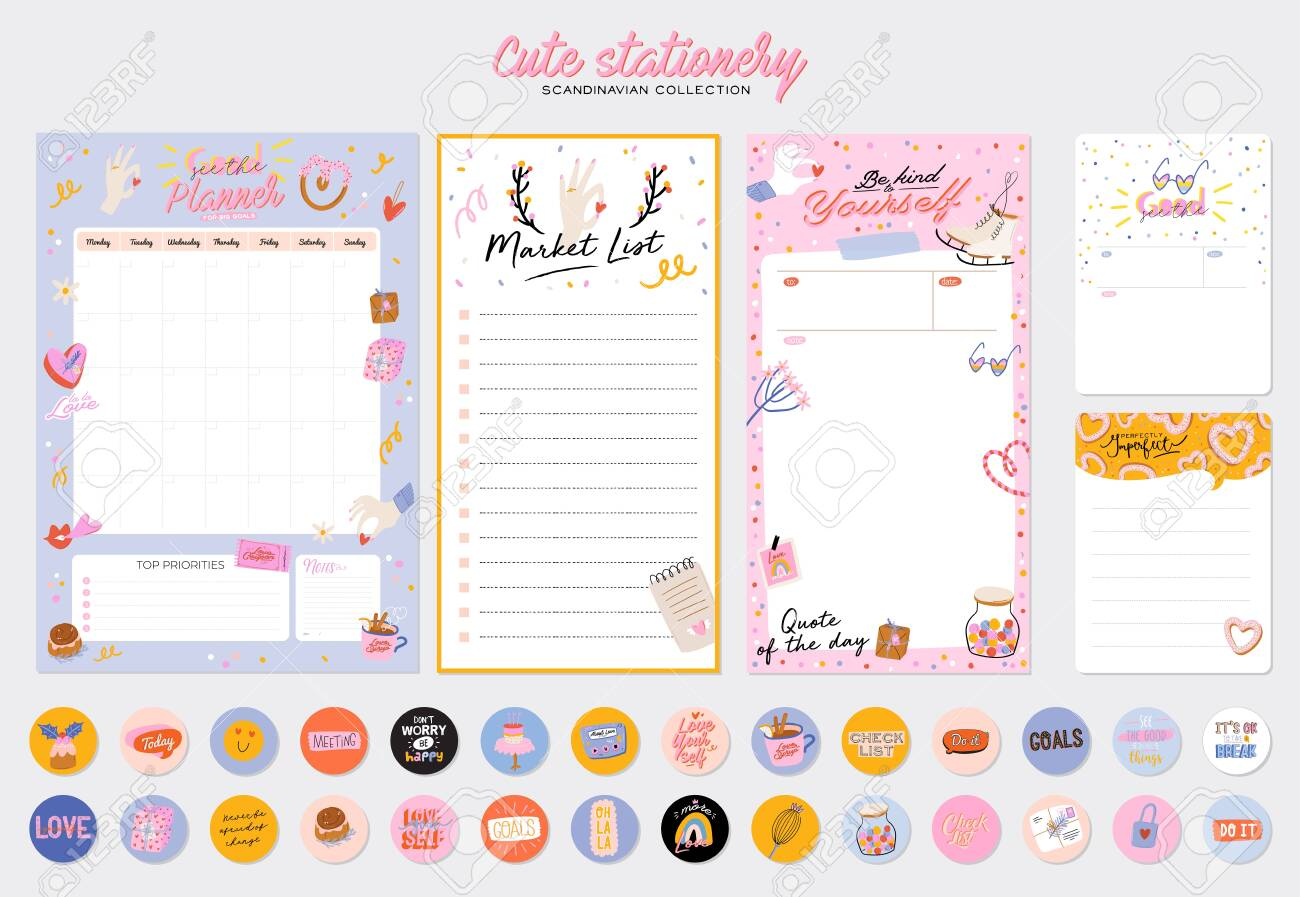 Collection of weekly or daily planner, note paper, to do list, stickers templates decorated by cute love illustrations and inspirational quote. School scheduler and organizer. Flat vector - 139742723