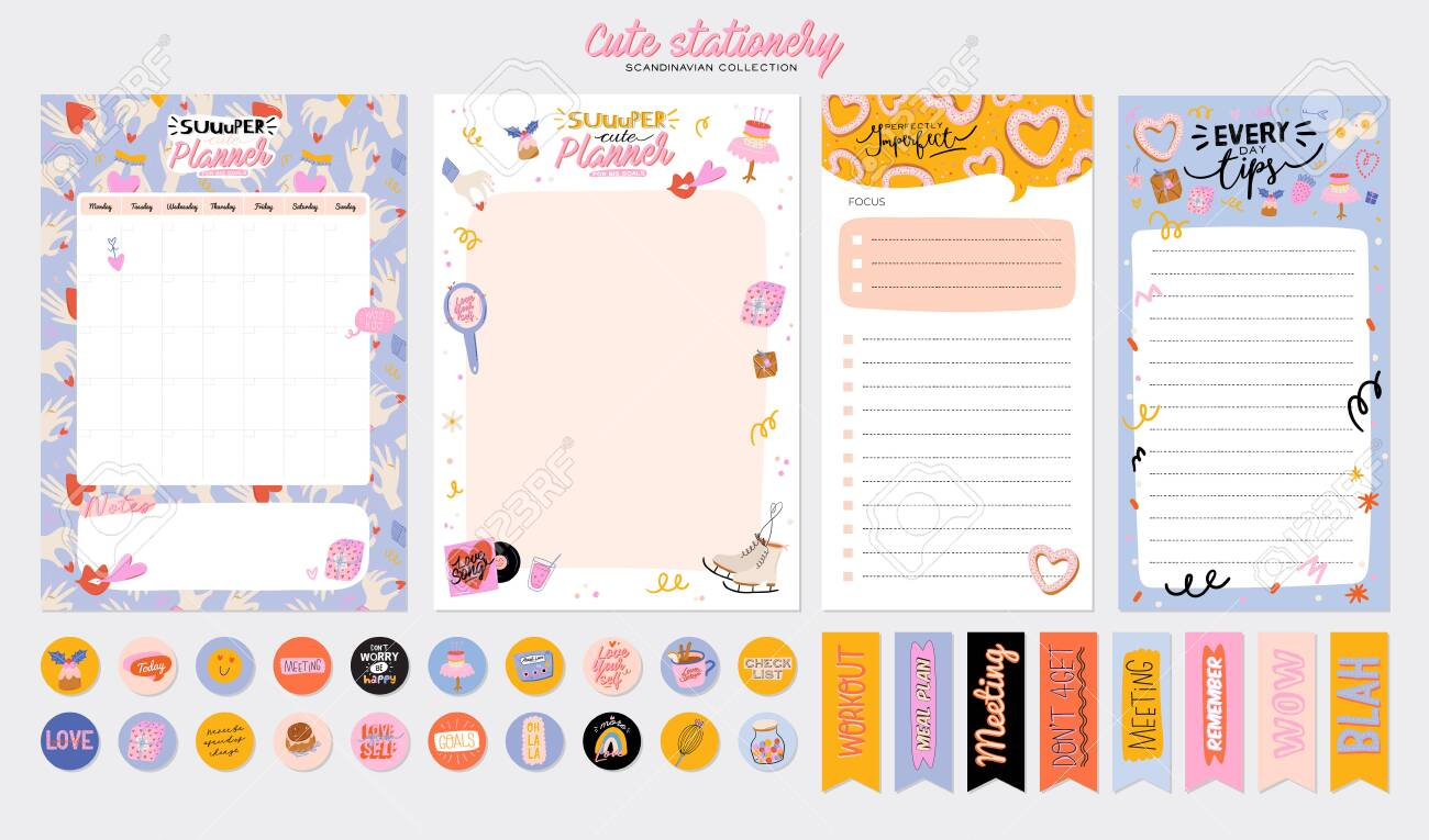 Collection of weekly or daily planner, note paper, to do list, stickers templates decorated by cute love illustrations and inspirational quote. School scheduler and organizer. Flat vector - 138902600
