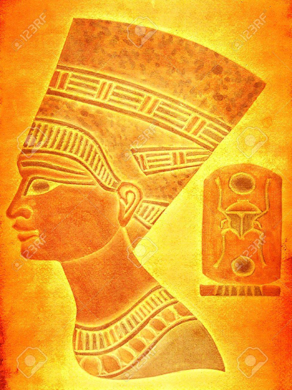 Portrait Of Nefertiti With An Ancient Egyption Symbol Stock Photo ...