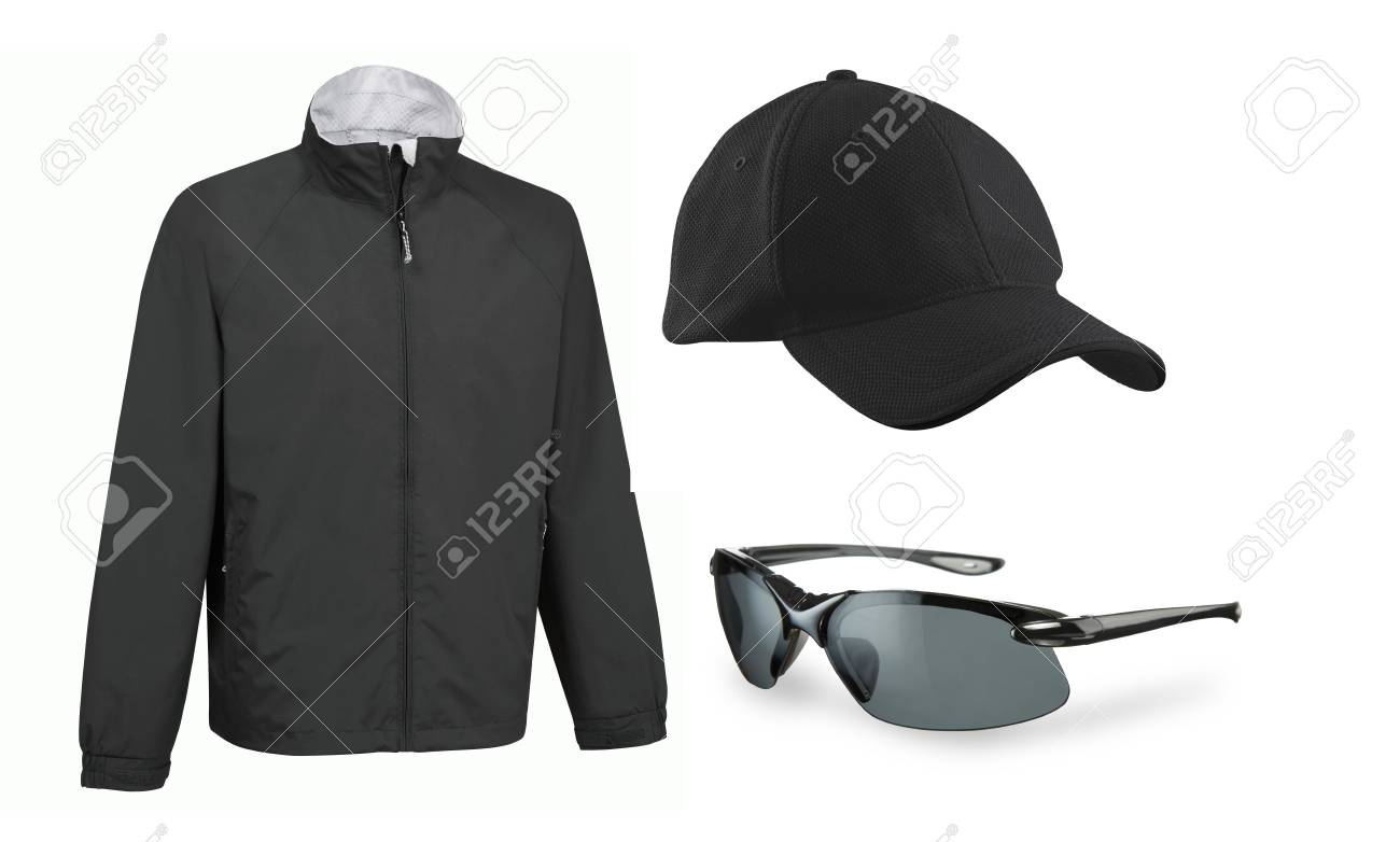 set of cap eyeglasses and a jacket isolated Stock Photo - 13606985