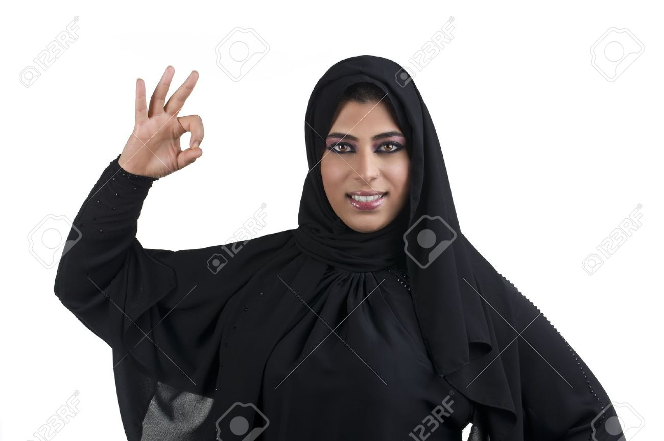 Perfect - arabian business woman showing OK hand sign Stock Photo - 13658914