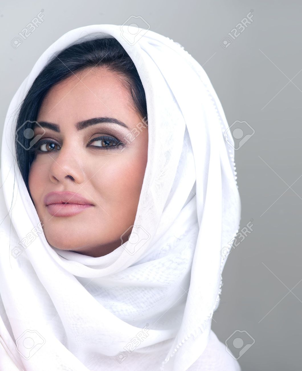 Sensual Portrait Of A Fresh Beauty Arabian Girl With Hijab Stock Photo 13736420