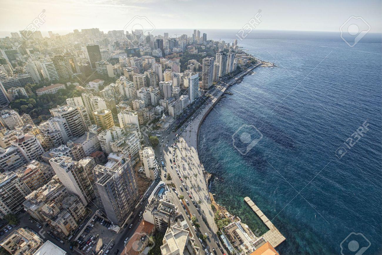 空中ビューのベイルート レバノン、ベイルートの街ベイルート都市景観