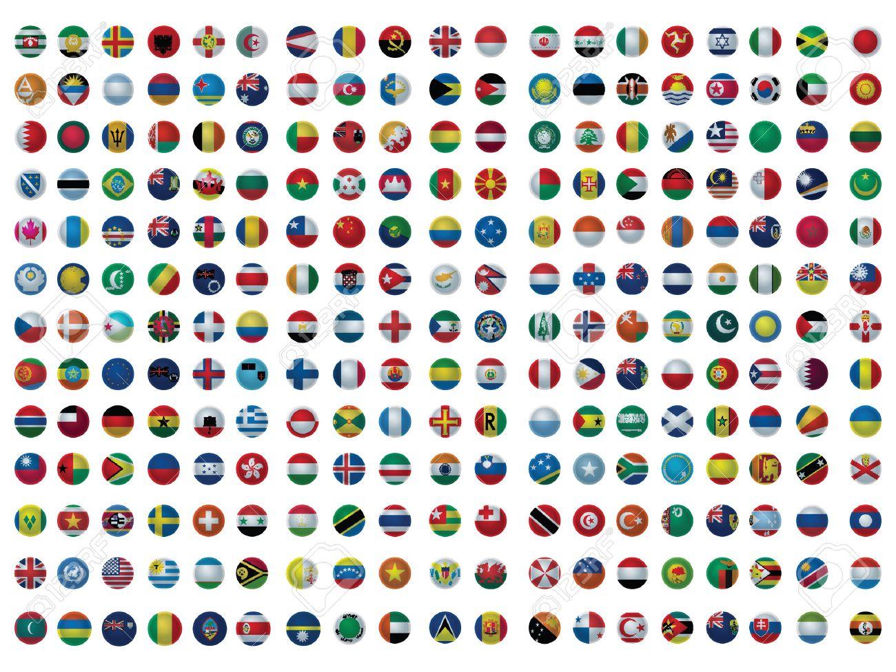 Onwijs Pictogrammen Met Alle Vlaggen Van De Wereld Geïsoleerd Op Wit NS-88