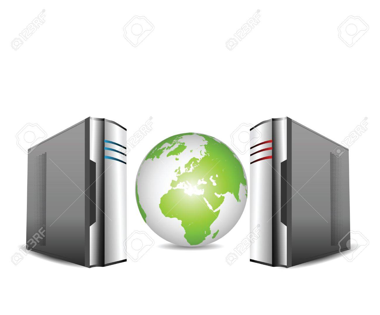 Computer Servers Isolated on White  with earth globe Stock Photo - 11648090