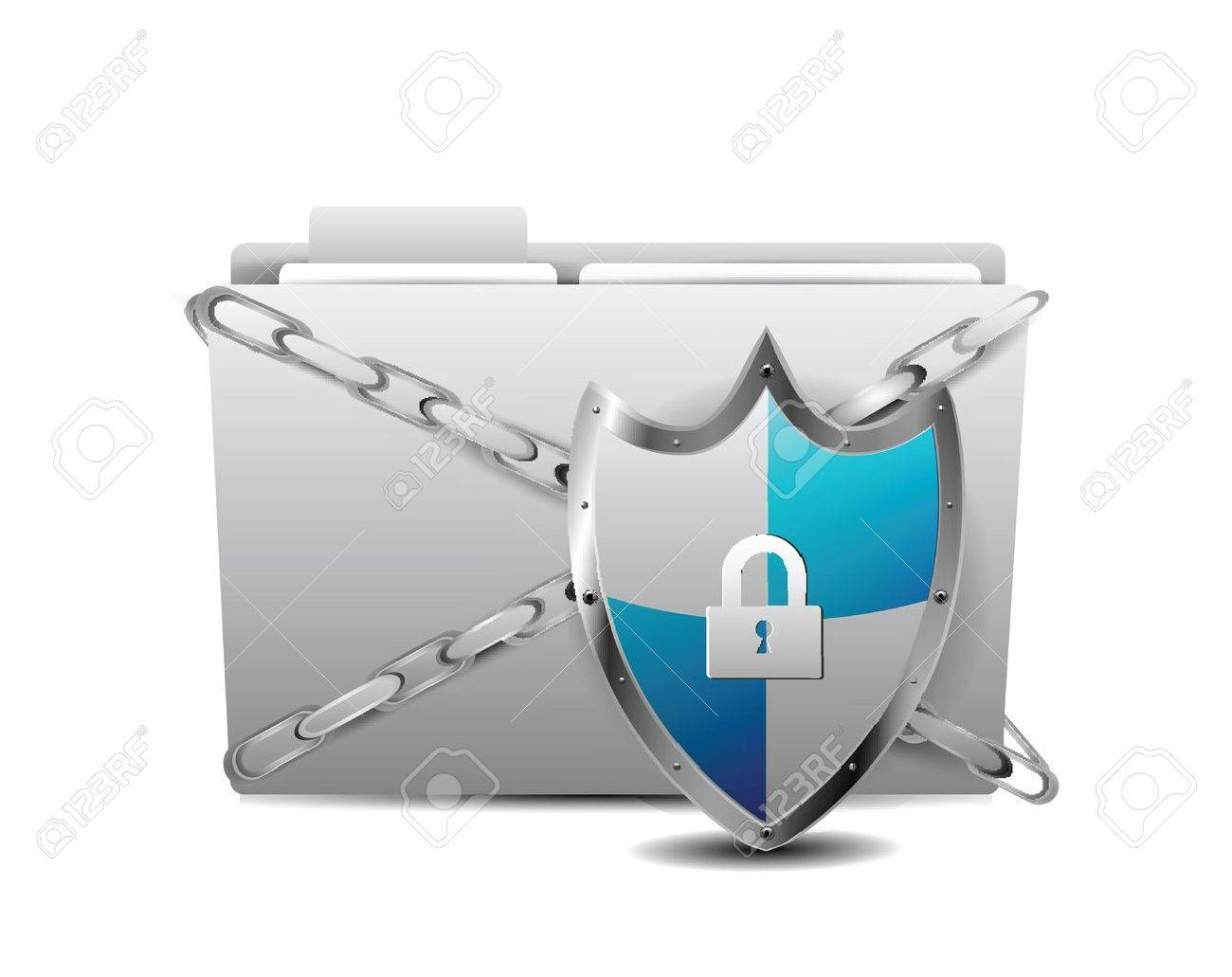 Shield with Folder Protection over white background Stock Vector - 12437920