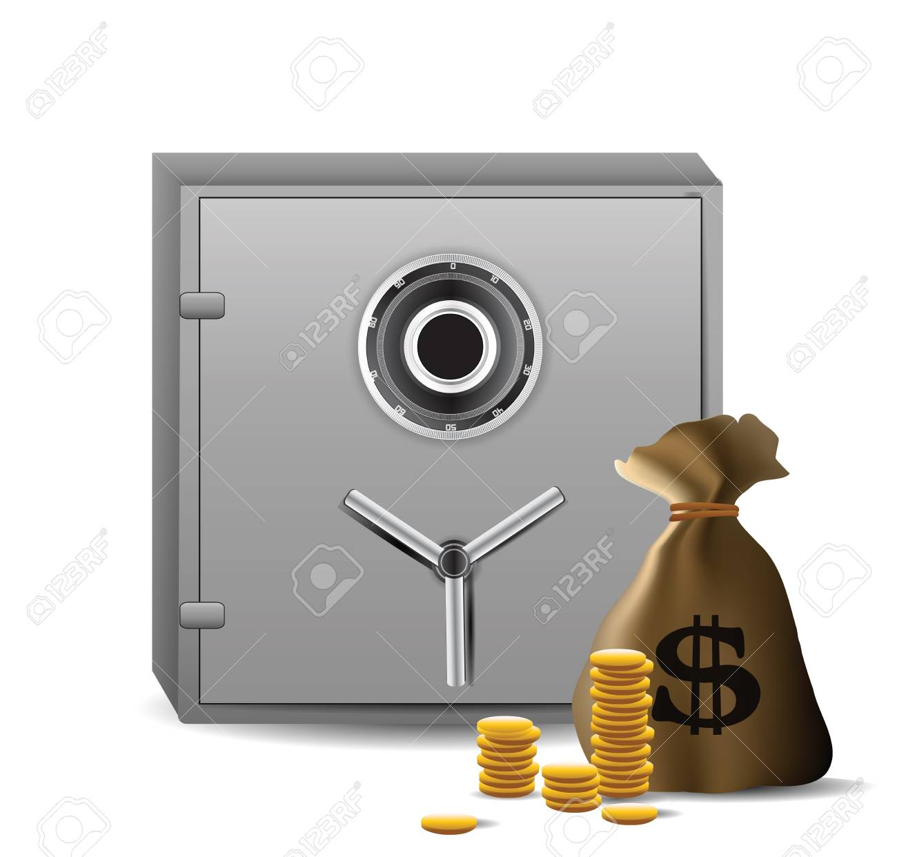 Safe combination lock with money Stock Vector - 12437122