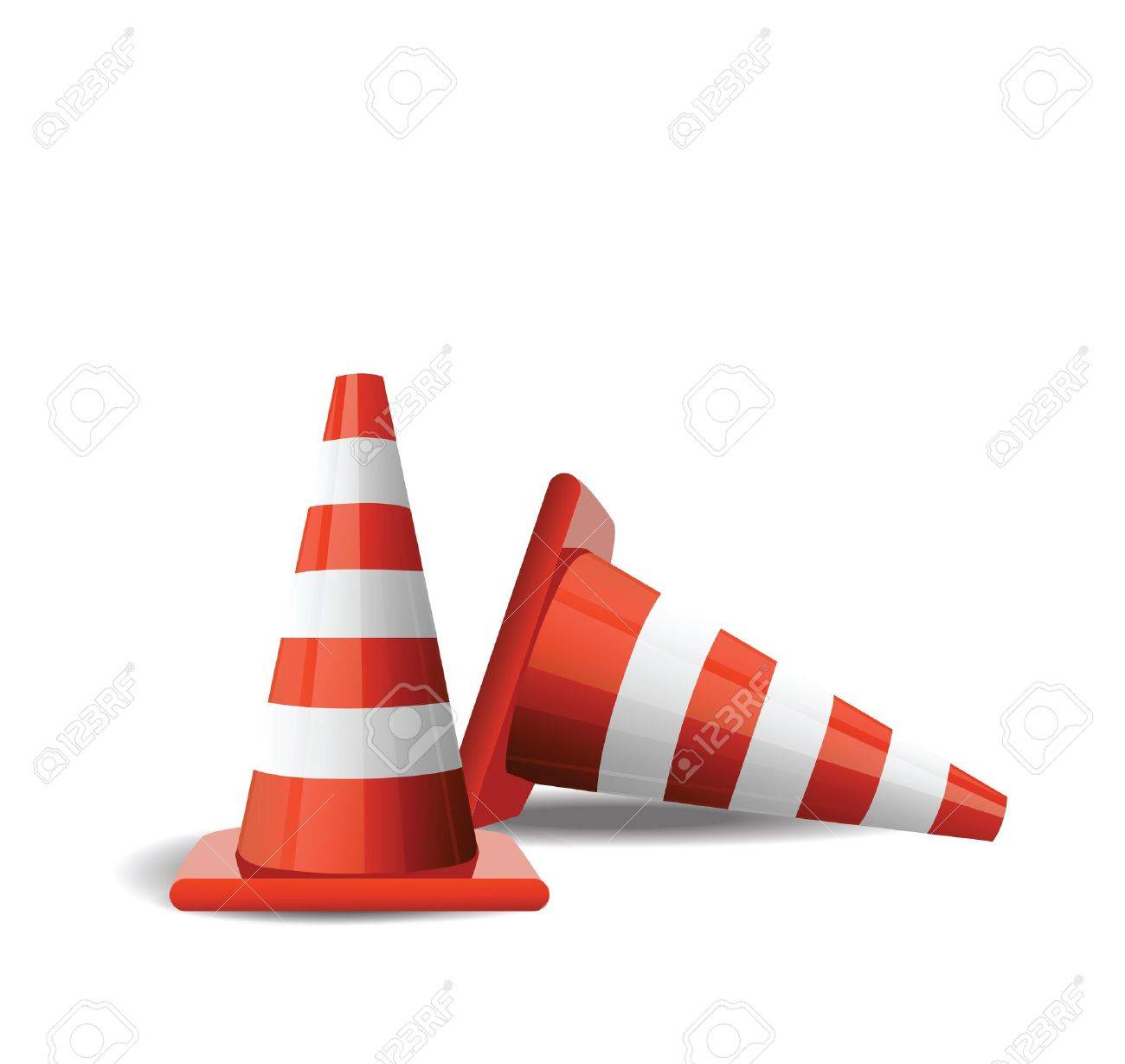 Traffic Cones isolated on white Stock Vector - 12436958