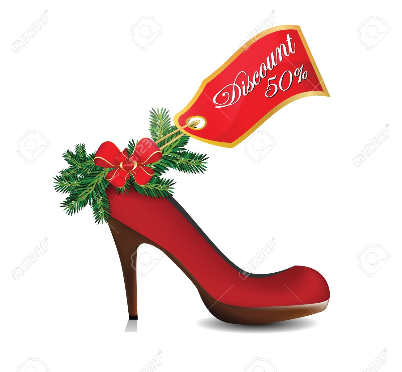 Christmas Shoe.Illustration Of Christmas Discount On Red Shoe