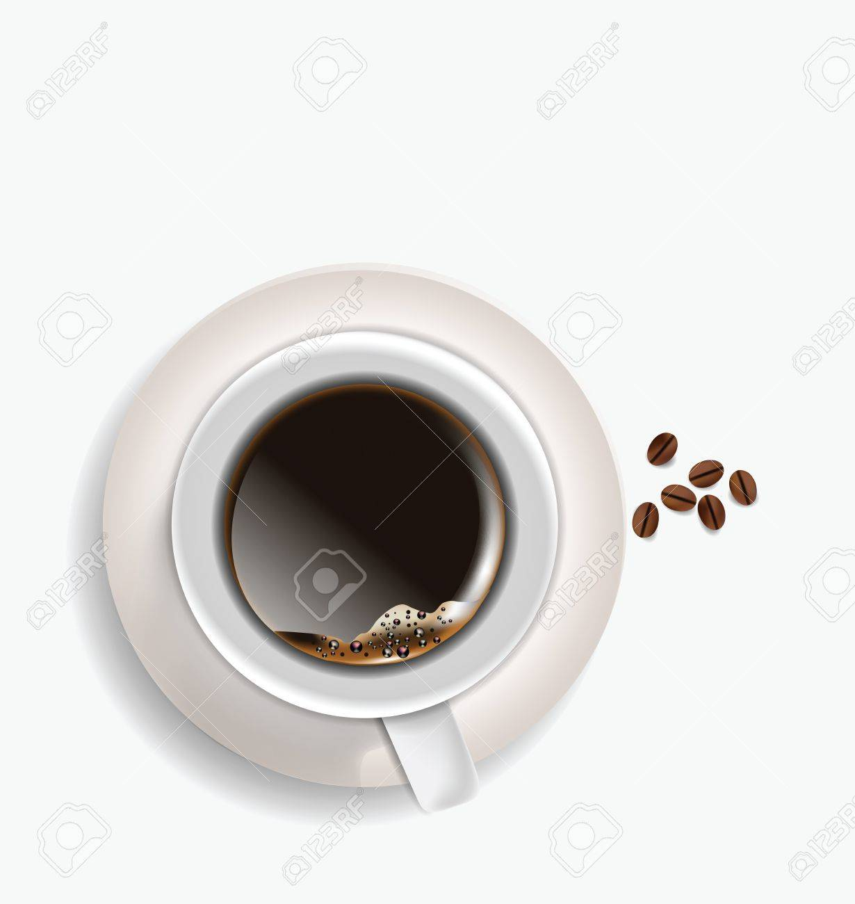 Coffe Cup and beans aerial view isolated on white background Stock Vector - 16166491