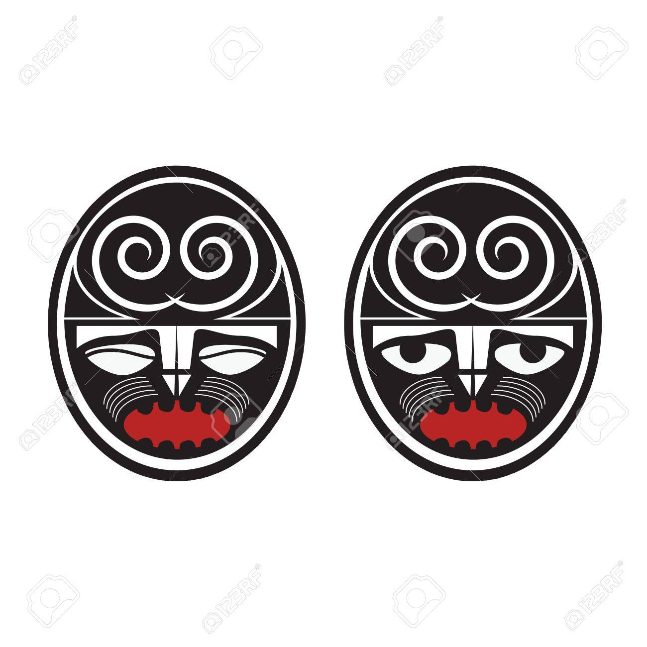 Collection of two different maori style faces Stock Vector - 16166487