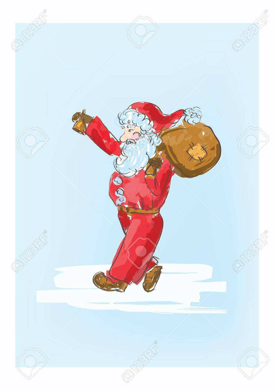 Illustration of cartoon Santa Claus sketch Stock Vector - 16166483