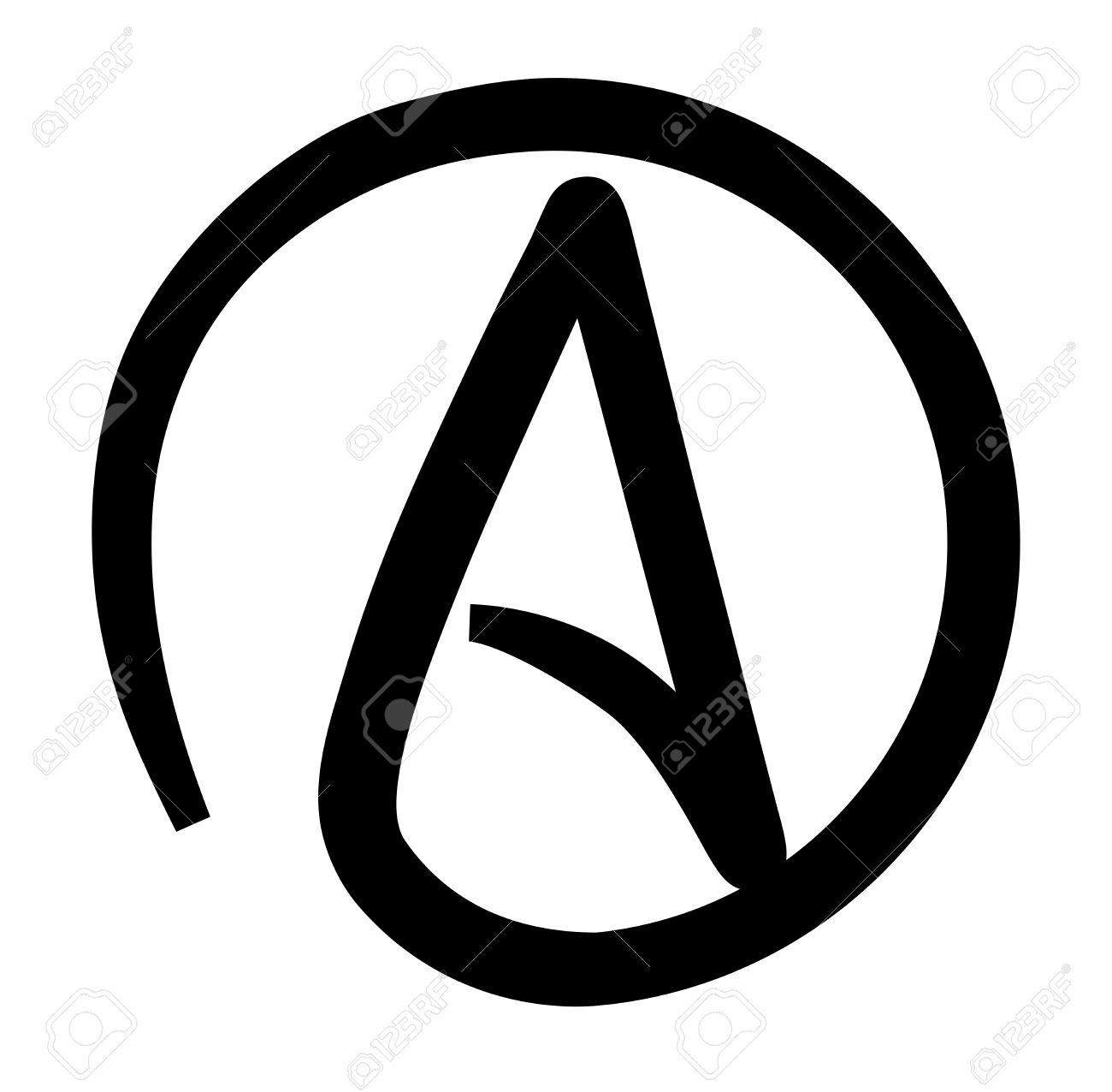 Atheism black and white printable symbol stock vector 38928813