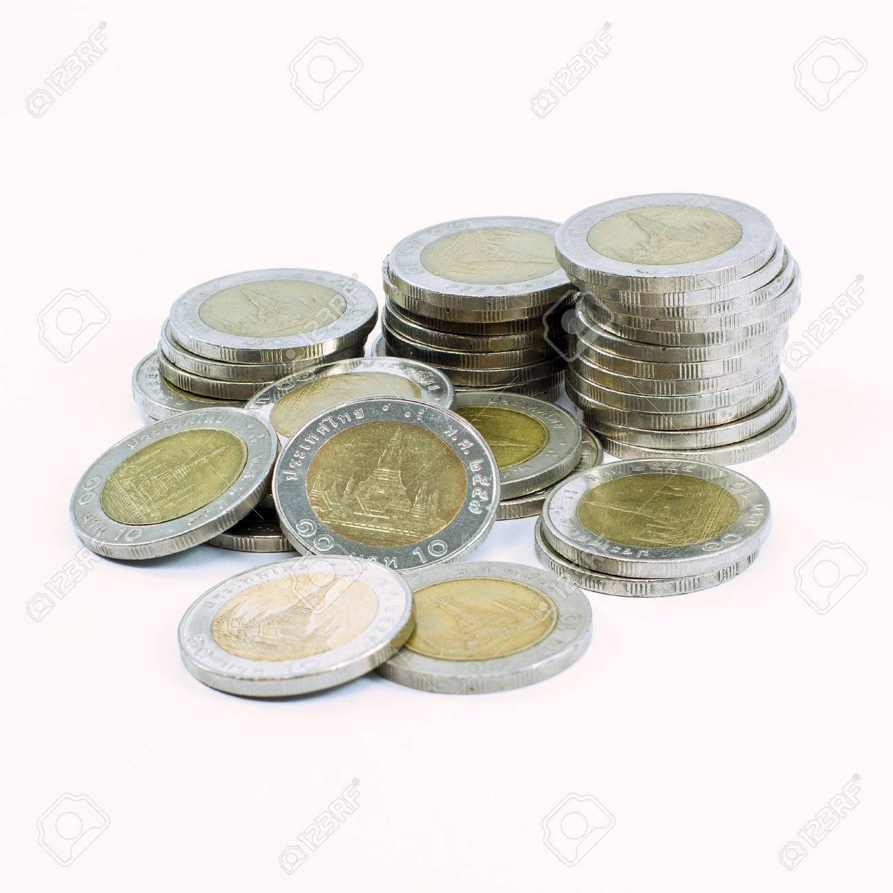 Thai 10 Baht Münzen Isoliert Auf Weißem Hintergrund Lizenzfreie