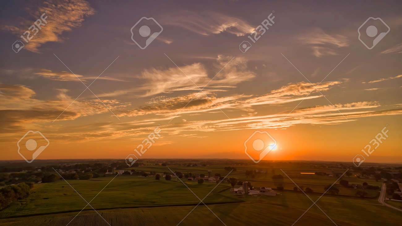 Aerial View of Multiple Farms and Pastures with Field of Corn Grows on Them at Sunset on a Beautiful Summer Day - 162633893